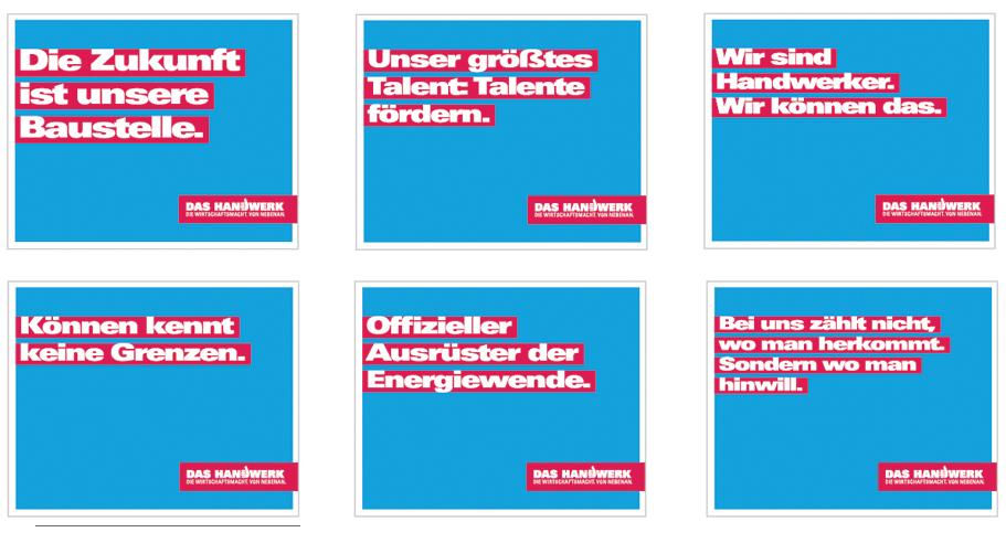 handwerksbanner.de - Auswahl von beliebten Motiven der Handwerkskampagne